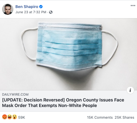 Ben Shapiro's Facebook post on June 23, 2020