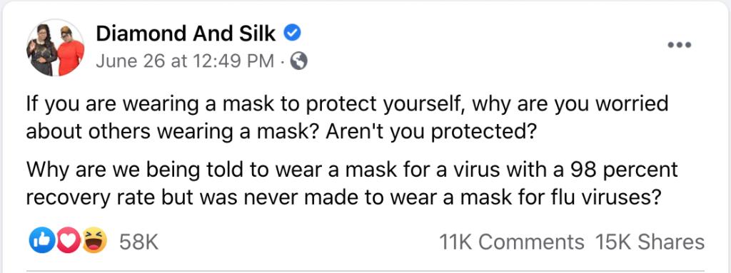Diamond & Silk on masks