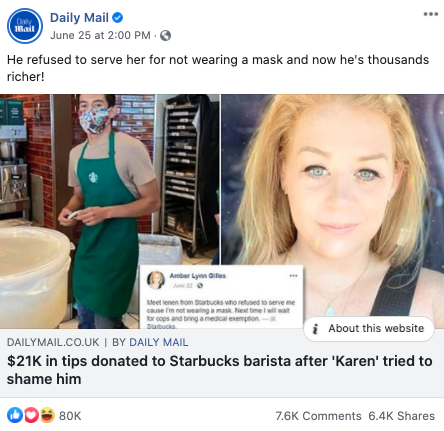 Daily Mail's Facebook post on June 25, 2020