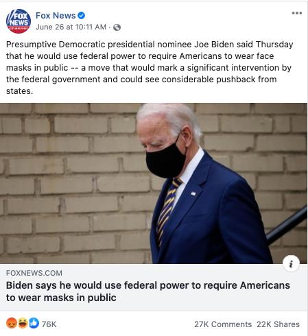 Fox News' Facebook post on June 26, 2020