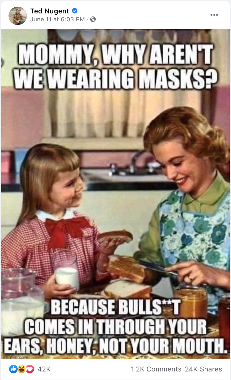 Nugent: Masks are BS