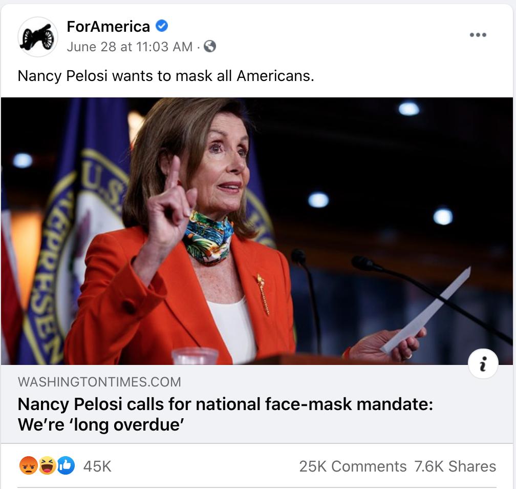 For America, Pelosi and mask mandate