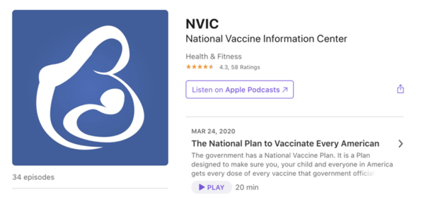 NVIC on Apple's podcast service