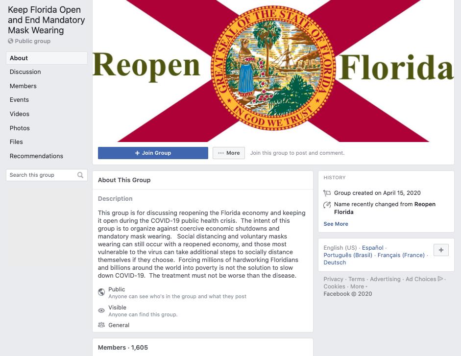 Keep Florida Open and End Mandatory Mask Wearing Facebook group screenshot