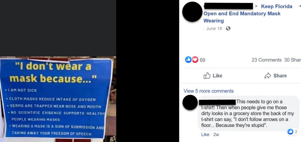 Keep Florida Open and End Mandatory Mask Wearing Facebook post screenshot 1
