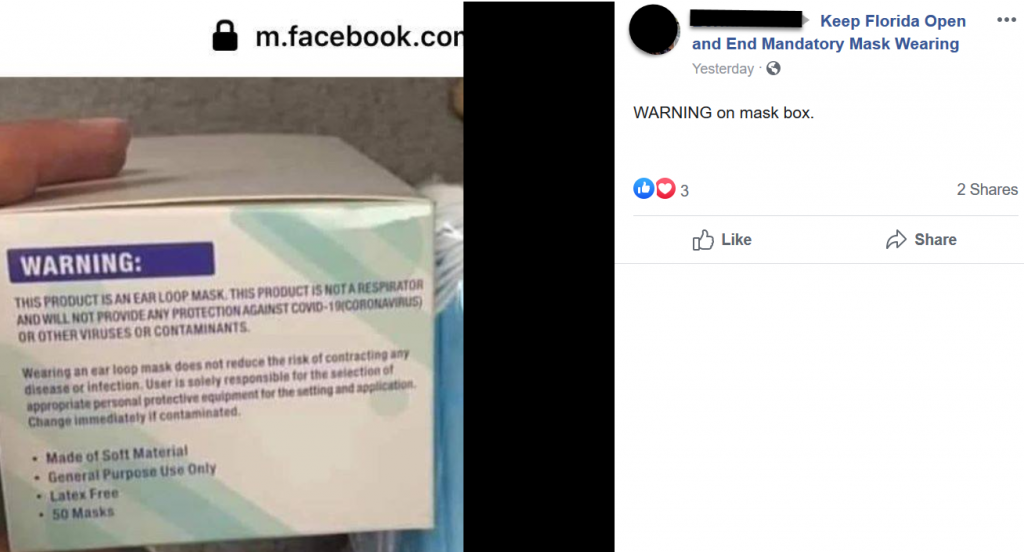 Keep Florida Open and End Mandatory Mask Wearing Facebook post screenshot 2