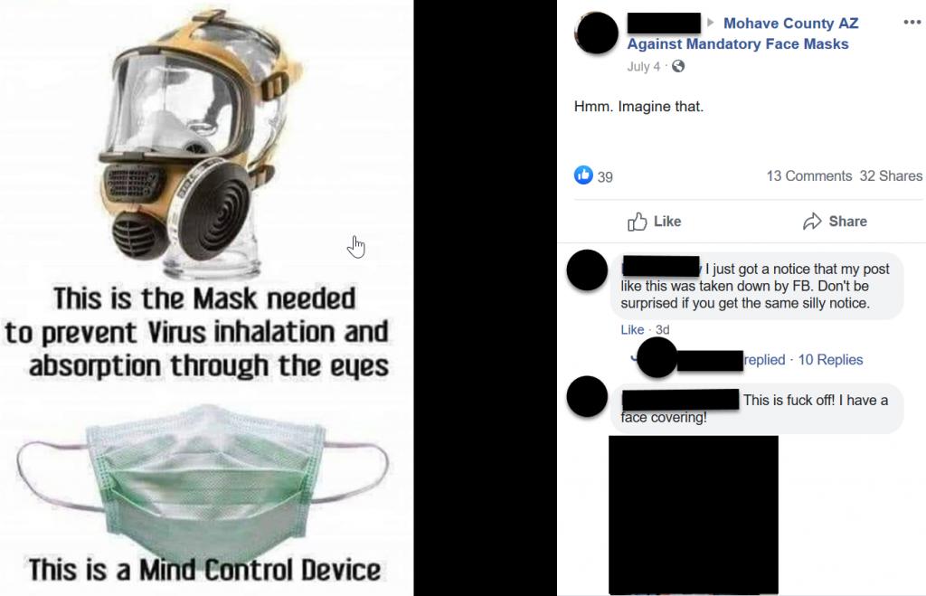 Mohave County AZ Against Mandatory Face Masks Facebook post screenshot 2