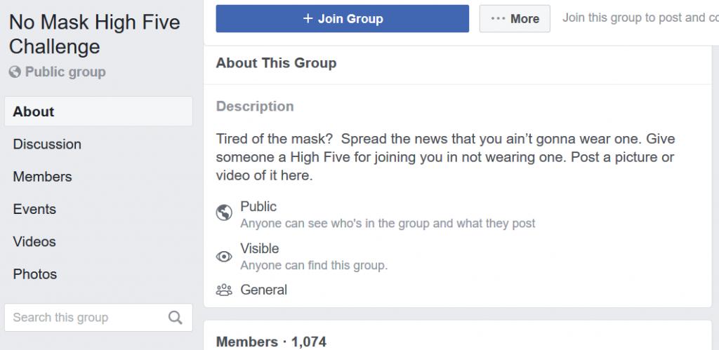No Mask High Five Challenge Facebook page description screenshot