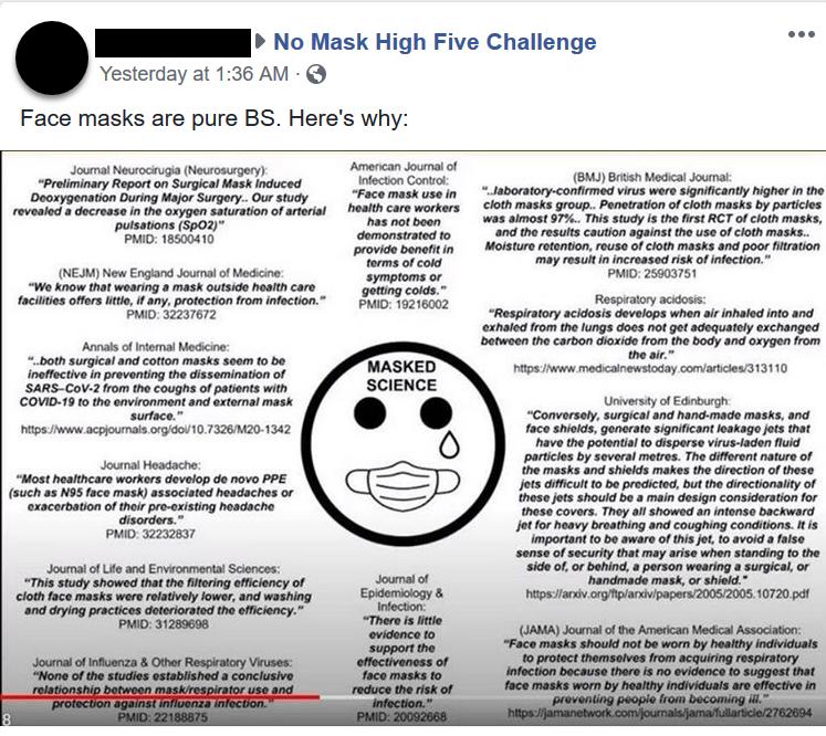 No Mask High Five Challenge Facebook post screenshot 1