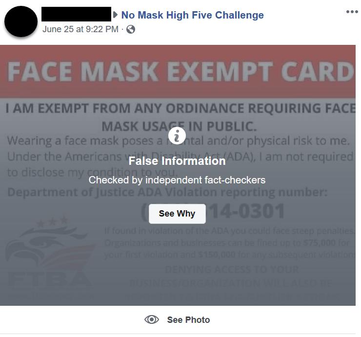 No Mask High Five Challenge Facebook post screenshot 3
