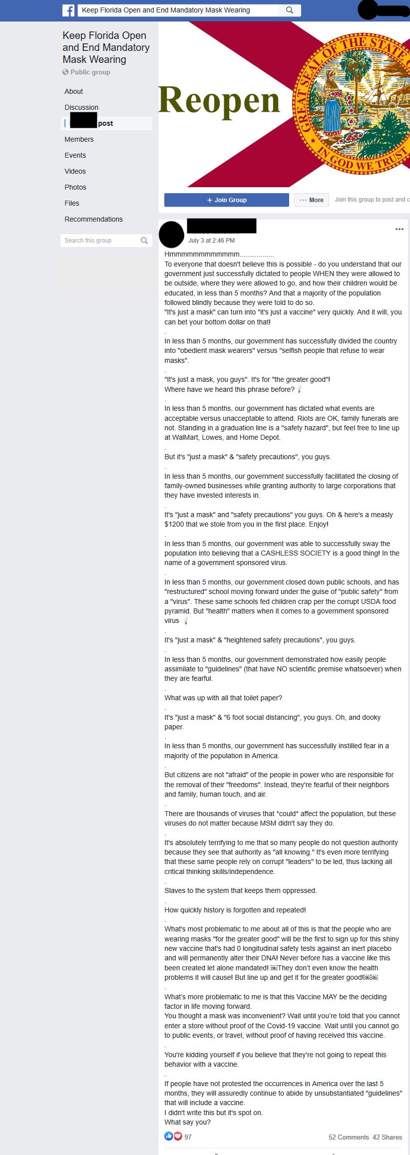 Keep Florida Open and End Mandatory Mask Wearing Facebook post screenshot 4