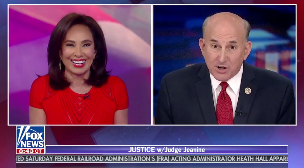 An image of Jeanine Pirro and Louie Gohmert talking on Fox News