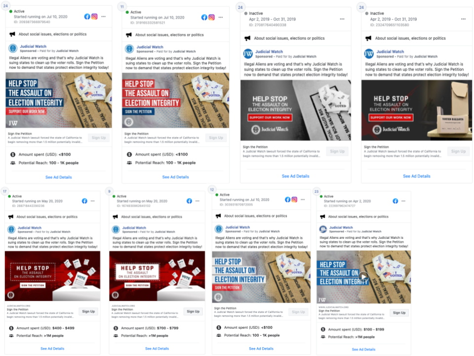 image of 144 of Judicial Watch's ads on Facebook