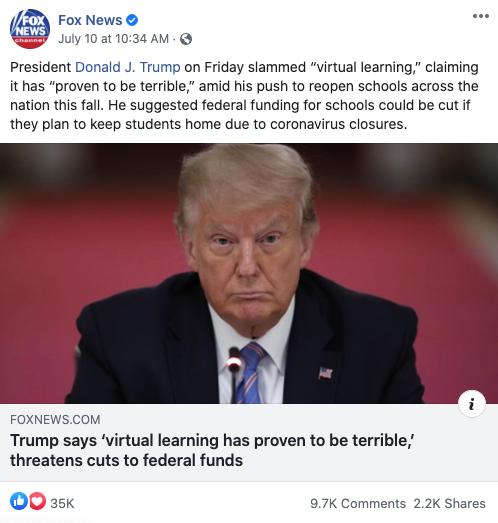 Fox News' Facebook post on July 10, 2020