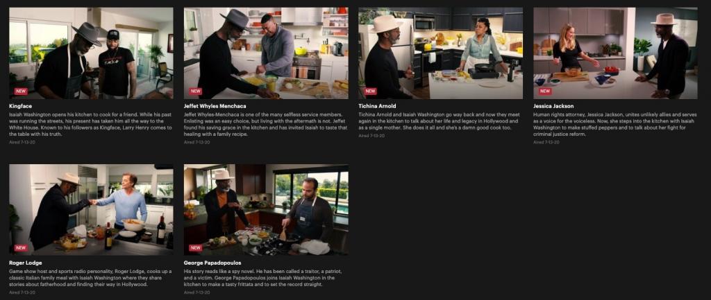 Isaiah Washington Kitchen Talk episodes