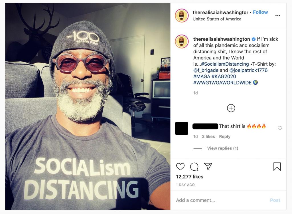 Isaiah Washington QAnon Instagram