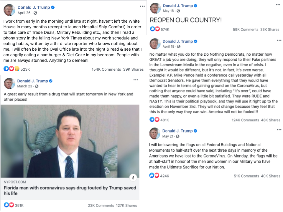 Donald Trump top posts on Facebook about COVID-19