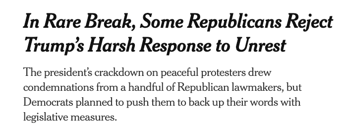 "The New York Times: ""In Rare Break, Some Republicans Reject Trump's Harsh Response to Unrest"""