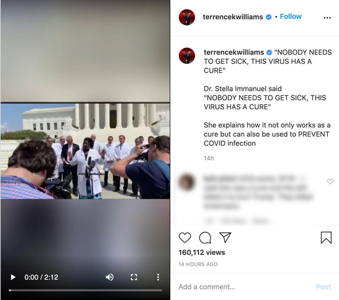 Terrence Williams coronavirus video Instagram