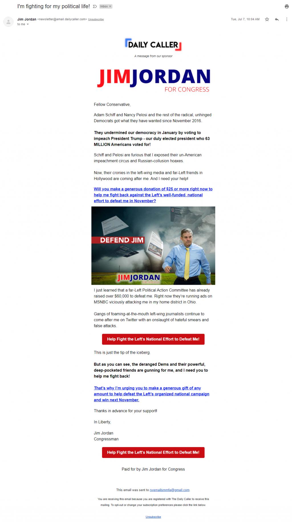 Daily Caller sponsored email for Jim Jordan