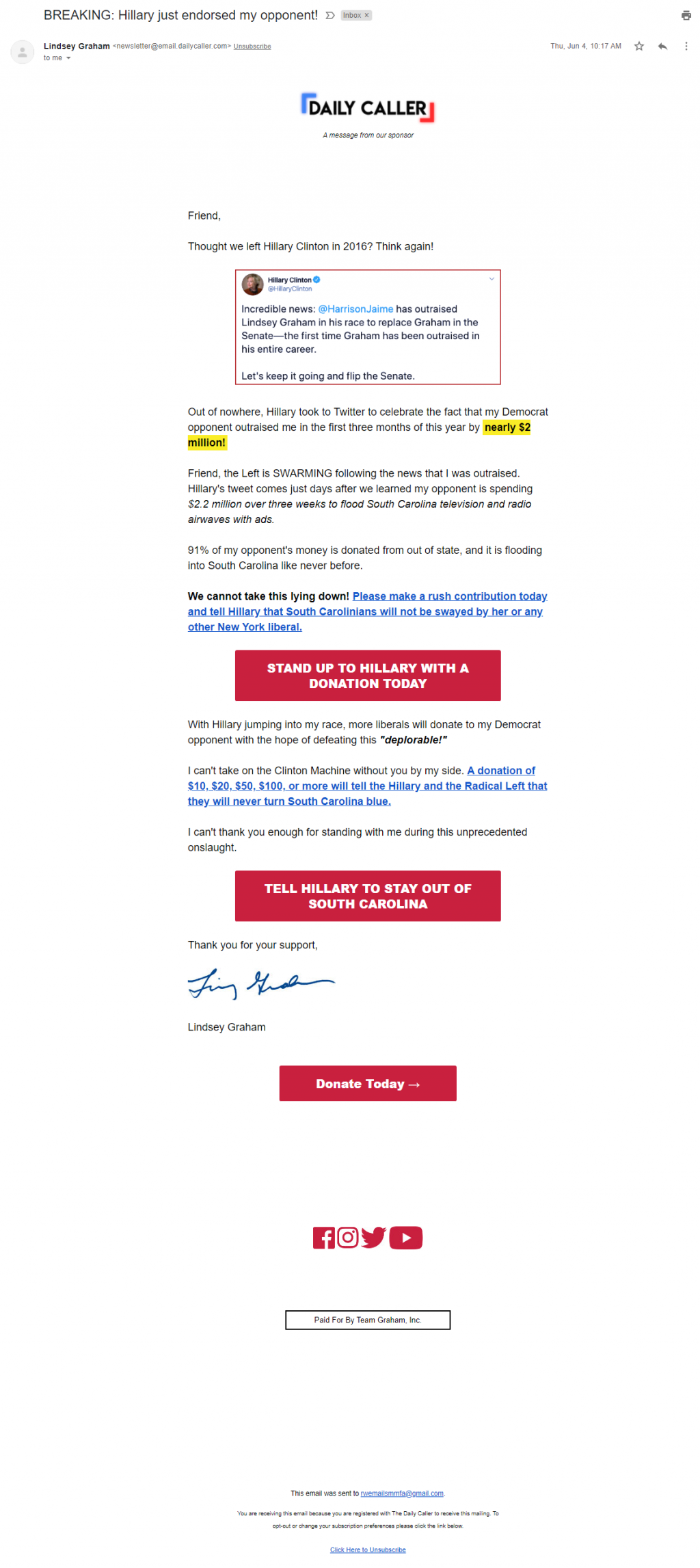 Daily Caller sponsored email for Lindsey Graham