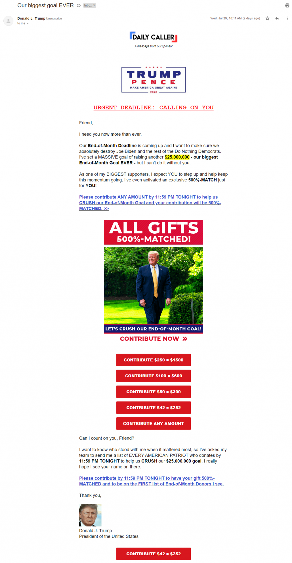 Daily Caller sponsored email for Trump example 1