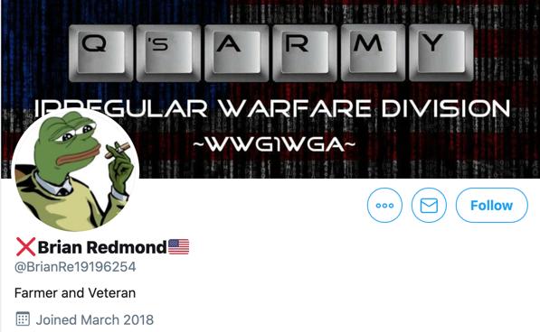 Brian Redmond QAnon Twitter profile