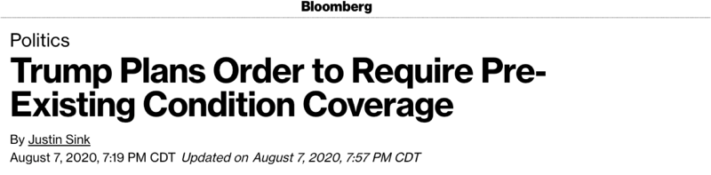 "Bloomberg: ""Trump Plans Order to Require Pre-Existing Condition Coverage"""