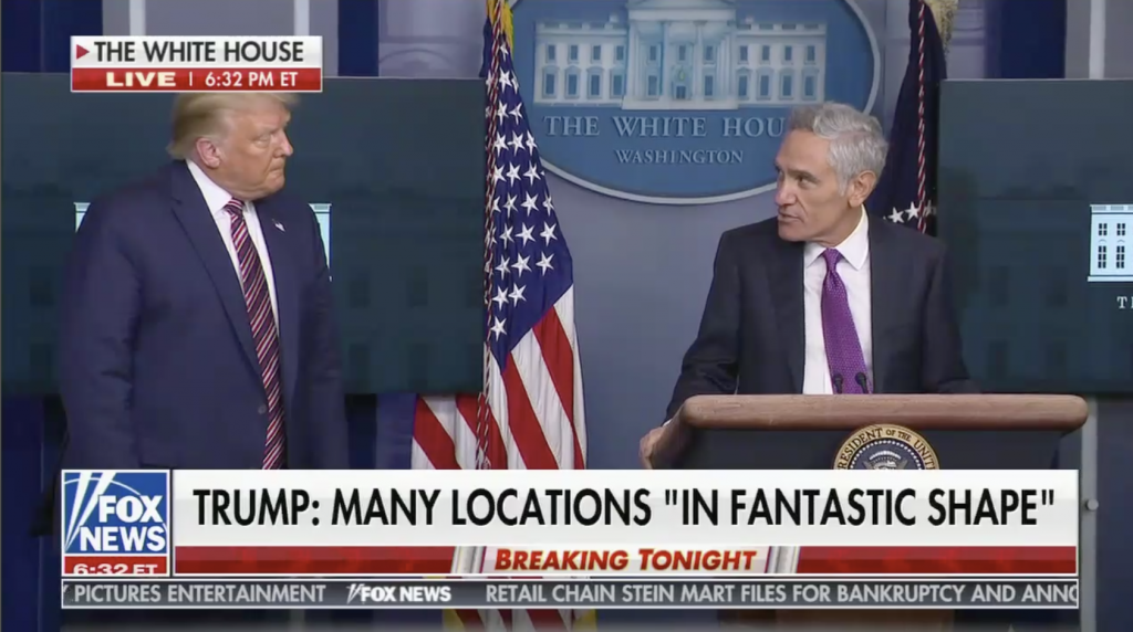 Scott Atlas appears at an August 12 White House press briefing with President Trump