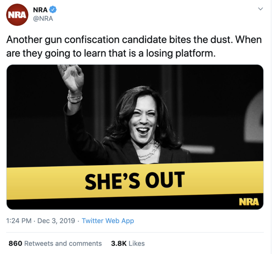 NRA post about Harris on Twitter
