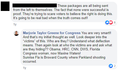 Marjorie Taylor Greene 2018 mail bombs conspiracy theory image: sent from the left