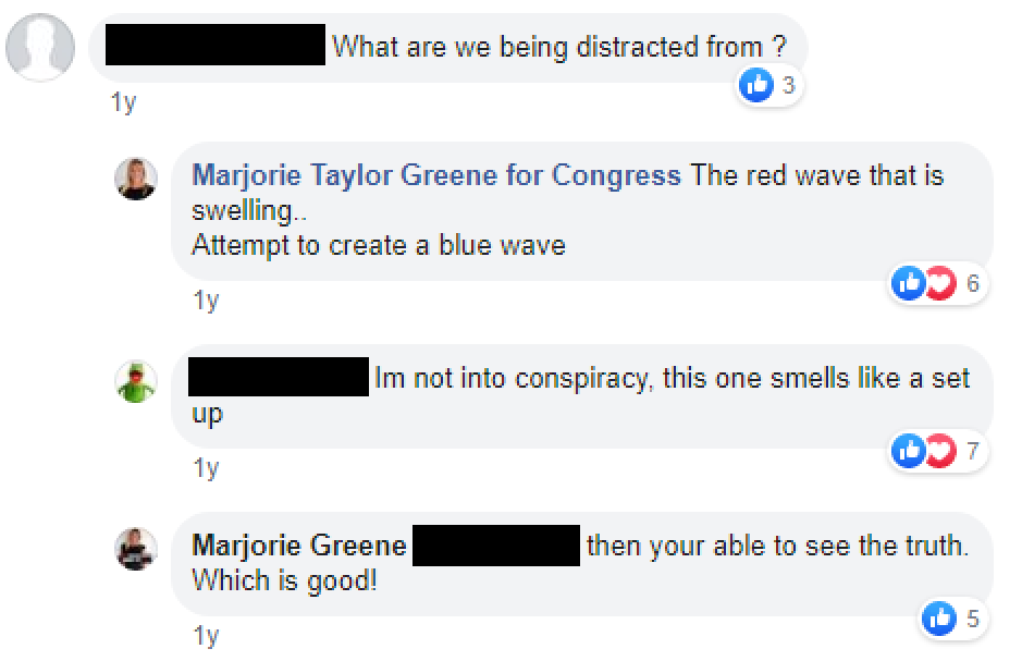 Marjorie Taylor Greene 2018 mail bombs conspiracy theory image: blue wave