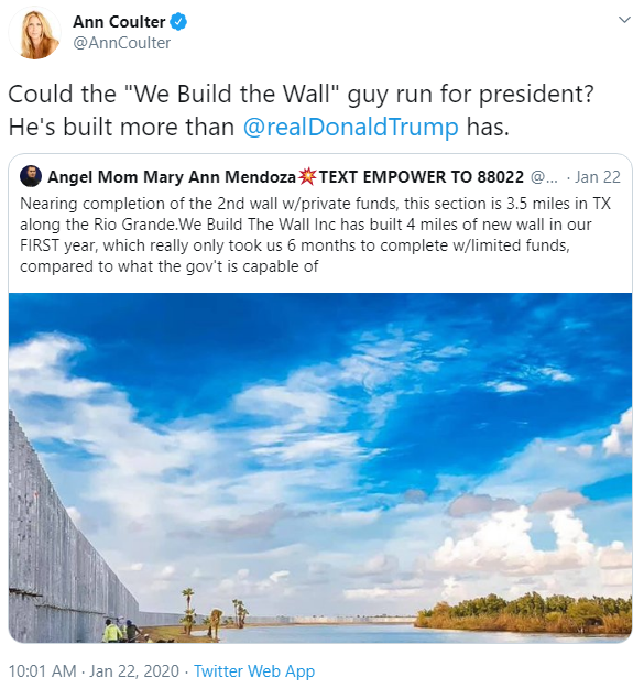 Ann Coulter and We Build the Wall tweet image