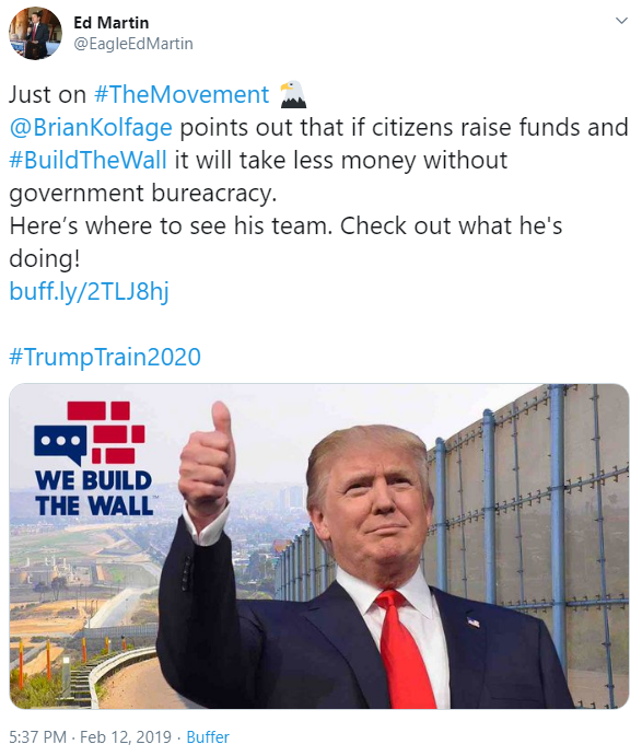 Ed Martin and We Build the Wall tweet image