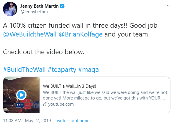 Jenny Beth Martin and We Build the Wall tweet image
