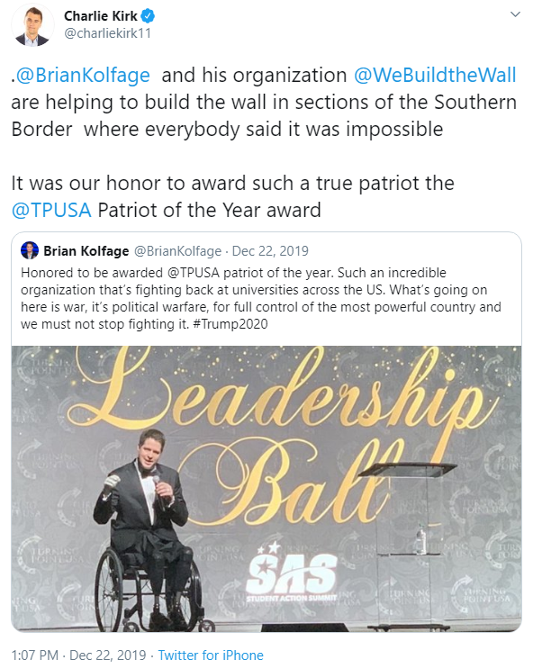Charlie Kirk and We Build the Wall tweet image (December 22, 2019)
