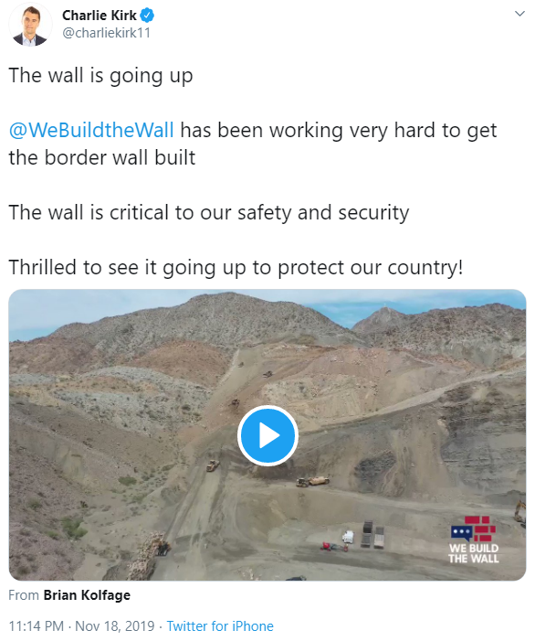 Charlie Kirk and We Build the Wall tweet image (November 18, 2019)
