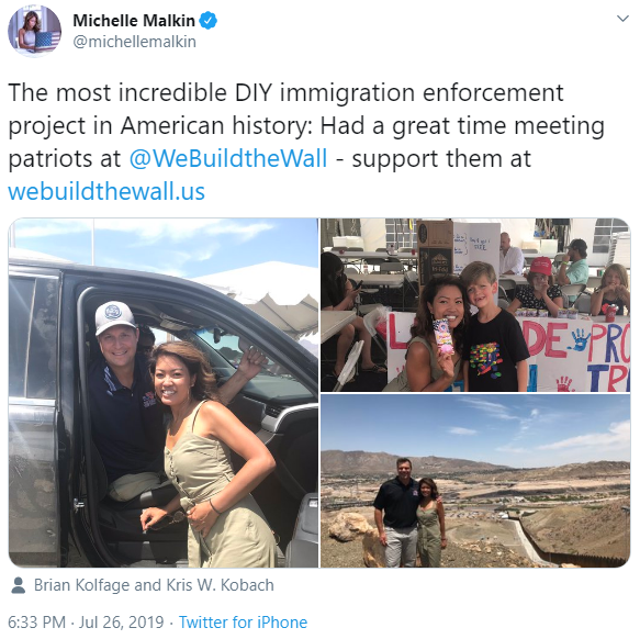 Michelle Malkin and We Build the Wall tweet image
