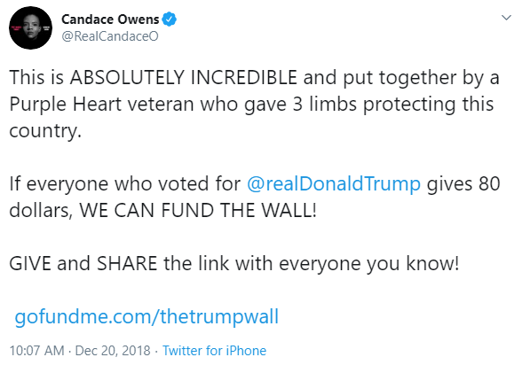 Candace Owens and We Build the Wall tweet image