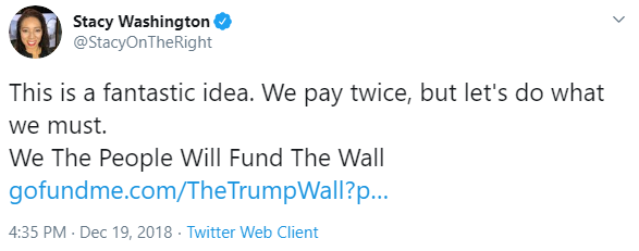 Stacy Washington and We Build the Wall tweet image