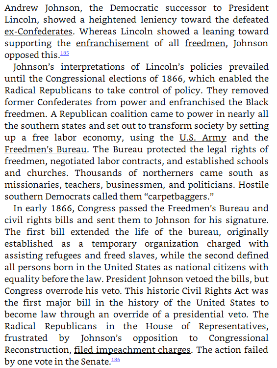 Burgess Owens plagiarism: Andrew Johnson and Reconstruction image text