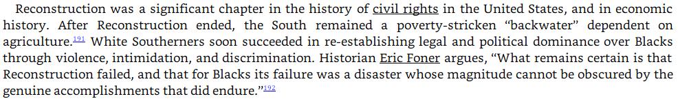 Burgess Owens plagiarism: The Reconstruction era, part 2 image text