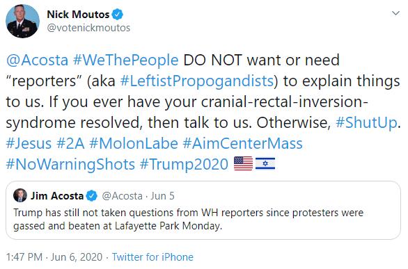Nick Moutos: Jim Acosta tweet image