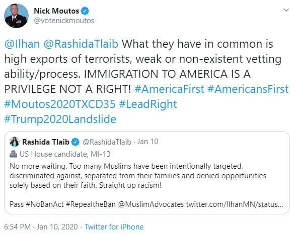 Nick Moutos: Immigration tweet image