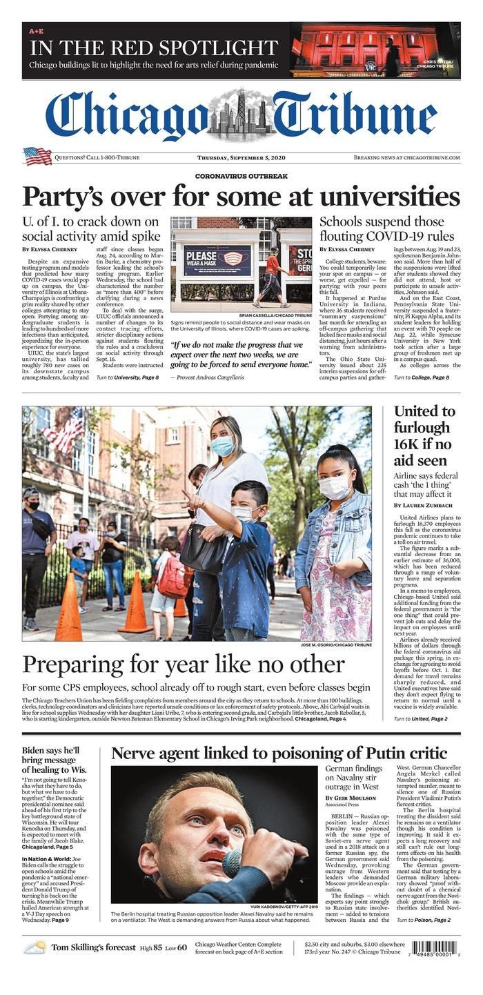 Chicago Tribune front page 9/3/20