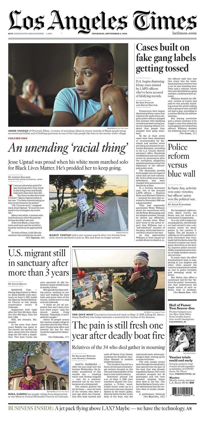 LA Times front page 9/3/20