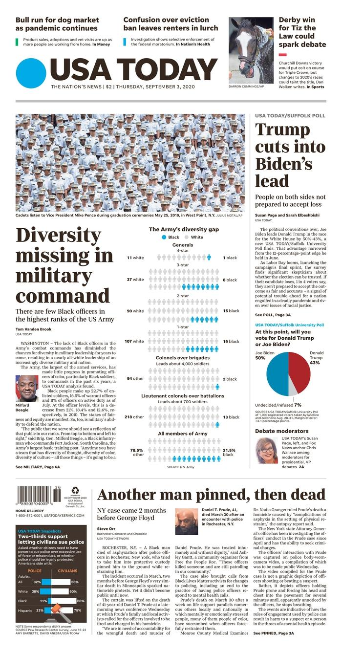 USA Today front page 9/3/20