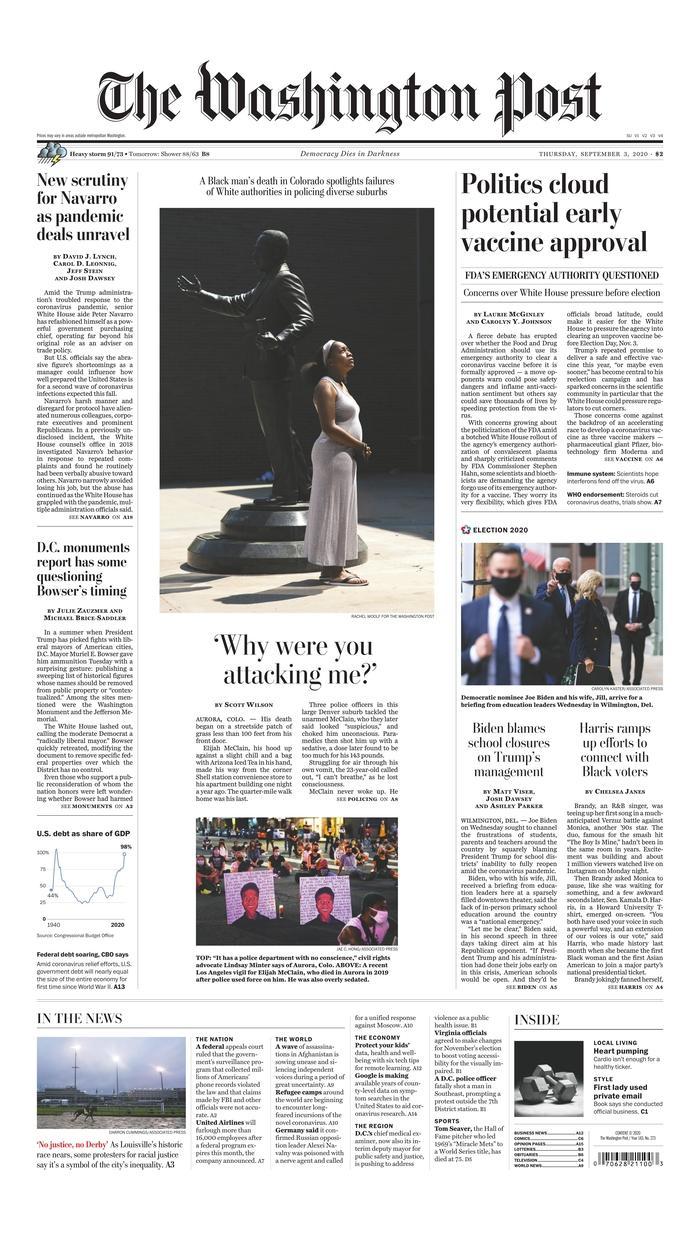 Washington Post front page 9/3/20