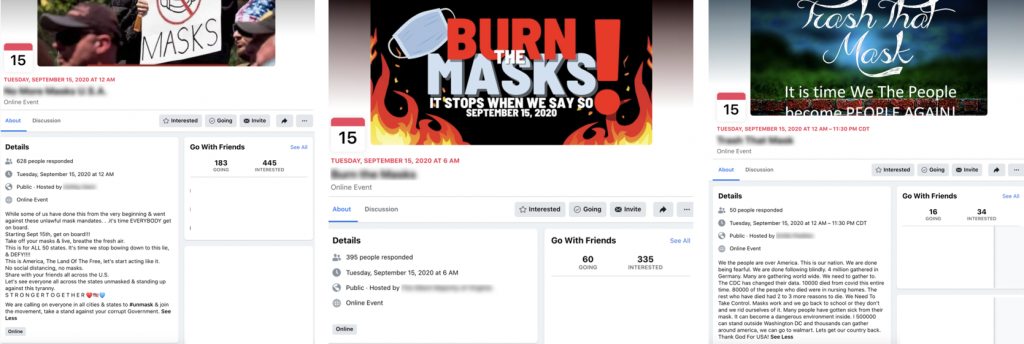 Facebook mask campaign events