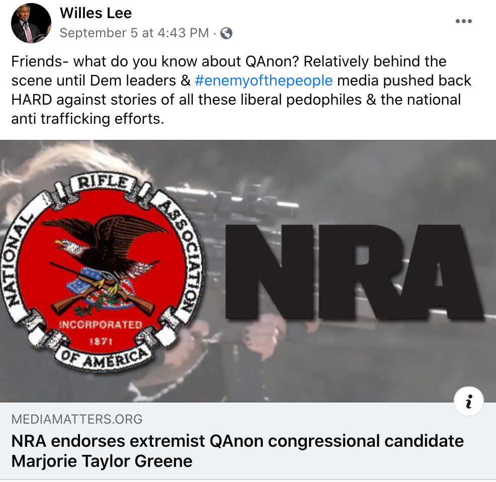 "Lee said Q was ""relatively behind the scenes"" until democrats ran defense for pedophiles"